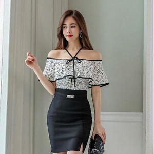 quality design 49f38 3f214 Dettagli su Elegante raffinato completo donna gonna tubino camicia nero  bianco slim 3593