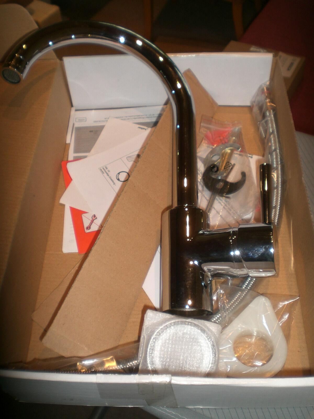 Küchenarmatur mit hohem Auslauf   Mod. 33755/H  Blauperl