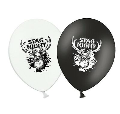 """Stag Night 12/"""" Printed Blue /& White Assorted Latex Balloons pack of 5"""