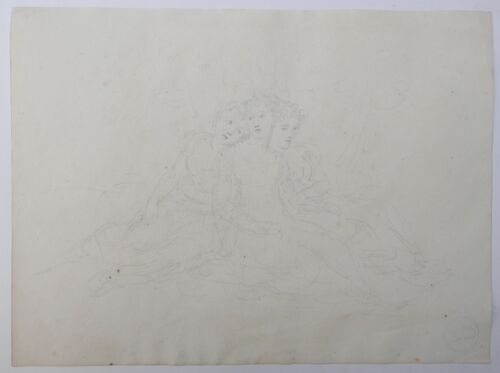 Beautiful Drawing Antique Three Women ETIENNE CHARLES LEGUAY c.1800 #1