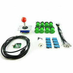Kit Joystick Arcade 1 joueur Bouton Americain Vert Carte USB Mame USB