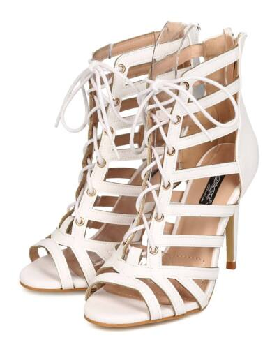 New Women DbDk Evy-2 Leatherette Peep Toe Caged Strappy Lace Up Stiletto Sandal