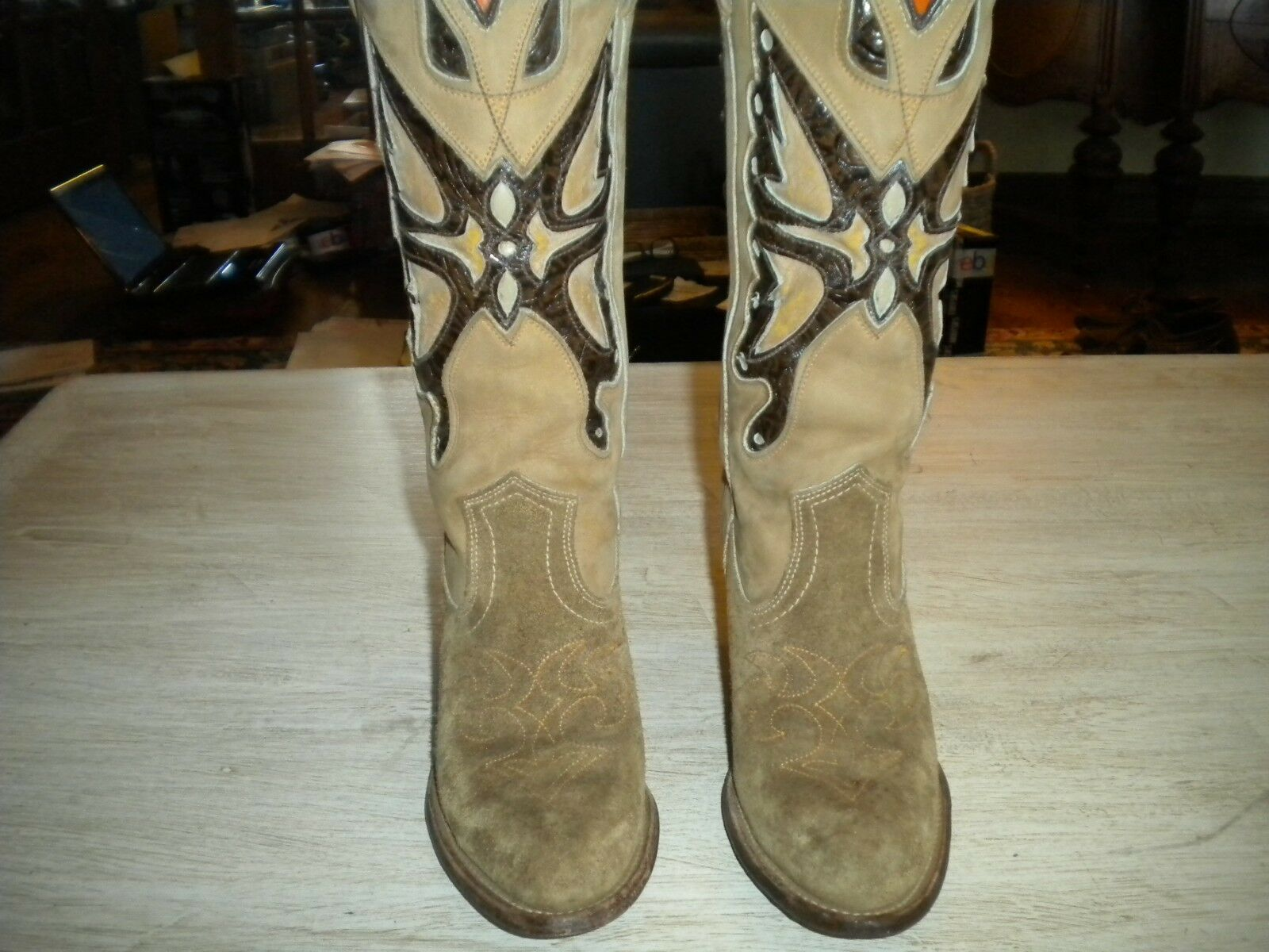 Miss Capezio Inlay Inlay Inlay Butterfly Tan Suede Cowboy