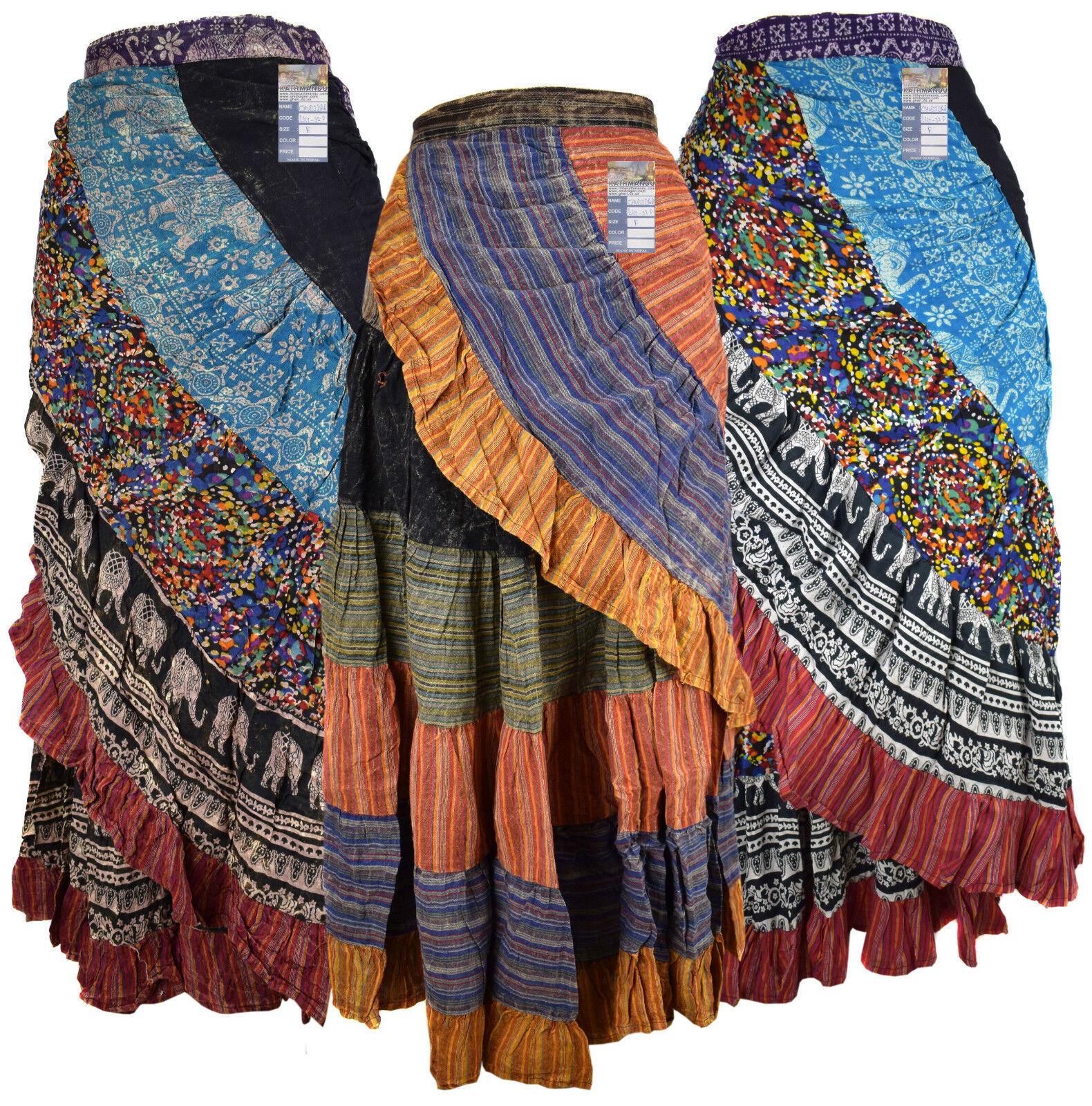 Cotton Wrap Patchwork Long Asymmetrical Hem Floral Print Hippie Bohemian Skirt