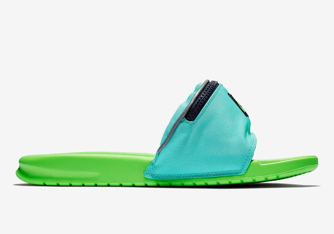 Pantofole da uomo Nike Benassi JDI Fanny Pack Slide Aurora Blue Green Strike AO1037-300 uomo wouomo