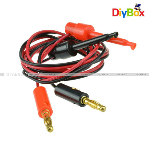 1 Pair Small Test Hook Clip to Banana Plug for Multimeter Test Lead Cable D
