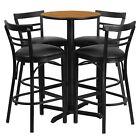 Flash Furniture 24'' Round Natural Laminate Table Set with Metal Barstools