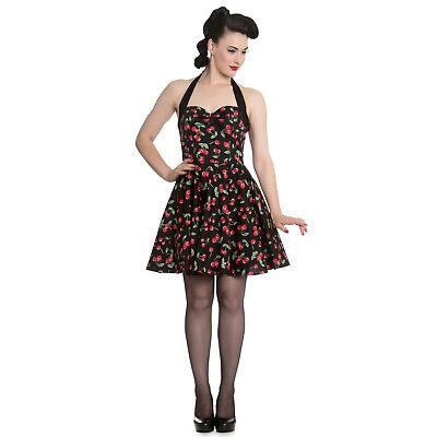 Hell Bunny Black Cherry Pop Rockabilly 1950s Vintage Con Svasato Mini Abito-mostra Il Titolo Originale