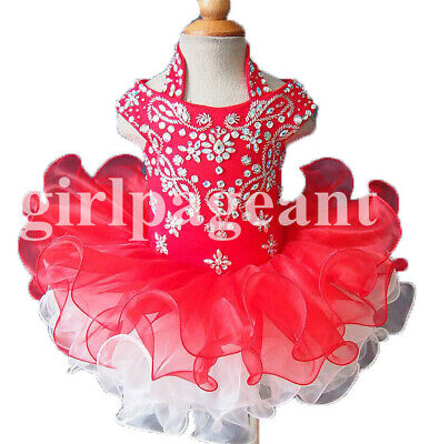 white red Infant//toddler//baby//children beading Pageant Dress079C with hairbow