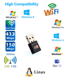 600 Mbps Dual Band 2.4//5Ghz USB WiFi Wireless Network Adapter Dongle Internet
