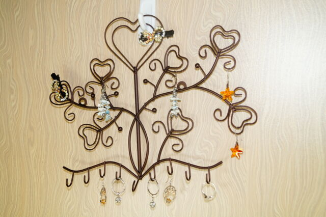 Mini Jewelry Hearts Hooks Display Earrings Necklace Ring Ornament Holder