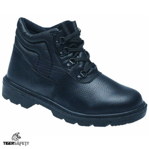 Toesavers 2415 S1P SRC Black Leather Steel Toe Cap Work Chukka Safety Boots PPE