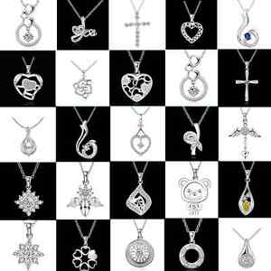 Fashion-Womens-925-Sterling-Silver-Rhinestone-Chain-Pendant-Necklace-Jewelry-New