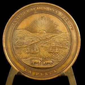 Medalla-Buenos-Aires-1890-Argentina-Inauguracion-del-Puerto-la-Plata-56-mm-medal