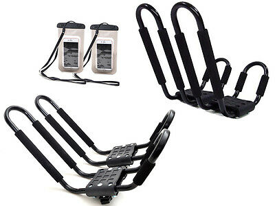 2 Pair Kayak Carrier Boat Ski Board Roof Top Mounted Rack w/Free Cell Phone Case