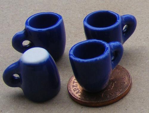 1:12 SCALA 4 Affusolato Blu in Ceramica Tazze Caffè Casa di Bambole tumdee Bere B121a