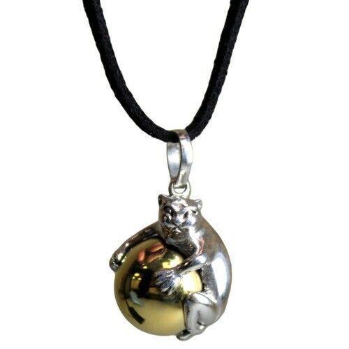 Nuevo Plata antigua sabiduría animal espíritu llamando Collar con Gato Bell