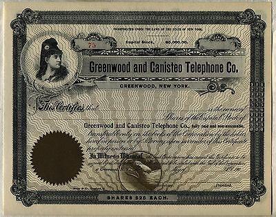 Stock Certificate New York Puebla Telegraph /& Telephone Co