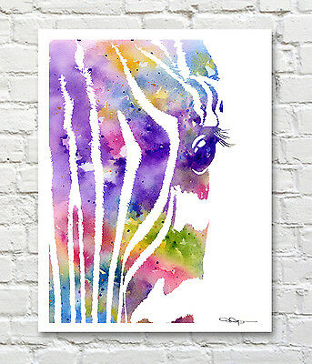 ZEBRA Contemporary Watercolor Abstract ART Print by Artist DJR