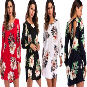 Womens-Flower-Print-long-Sleeve-Top-Blouse-mini-dress-Casual
