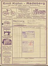 RADEBERG, Rechnung 1938, Emil Kühn Markenfabrikate - DKW Wanderer Dürkopp Pfaff