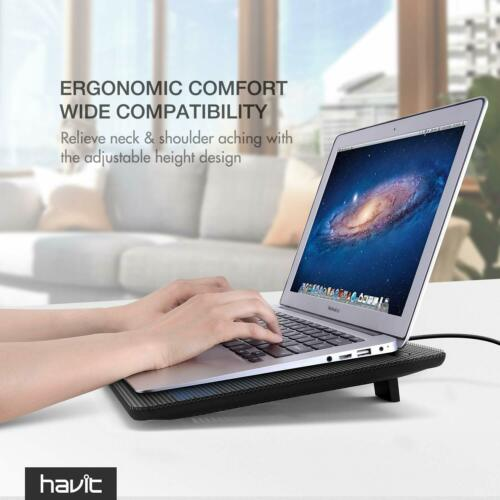 "Havit HV-F2056 15.6/""-17/"" Laptop Cooler Cooling Pad  Slim Portable USB Powered 3"