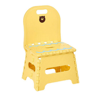 Home Children Plastic Bench Folding Chair Step Stool with Backrest~Yellow_S | eBay