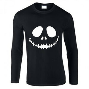 72aa2fd739 Mens New Halloween Scary Pumpkin Face white print Long sleeve black ...