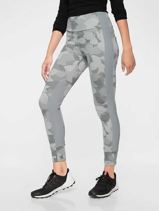 Athleta Essex Camo Hybrid Tight, sz S Small Cobblestone Grey
