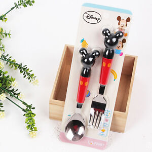 Image Is Loading Cute Disney Mickey Mouse Spoon Fork Set Stainless