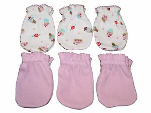 Ice Cream Mix Pink 6 Cotton Newborn Baby//infant No Scratch Mittens Gloves