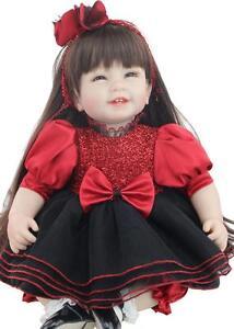 "Reborn Baby Girl Doll 22"" High Soft Vinyl Silicone Lifelike Gift Red Black Dress"