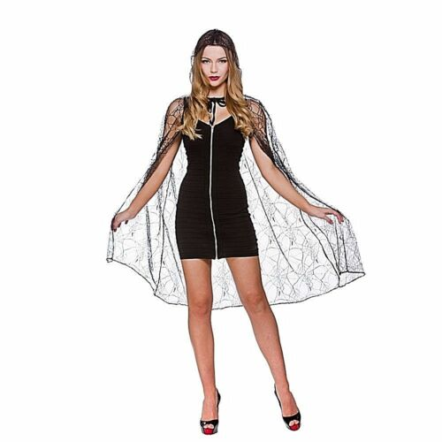 Ladies DELUXE SPIDERS WEB HOODED CAPE Halloween Girls Fancy Dress Costume Spooky