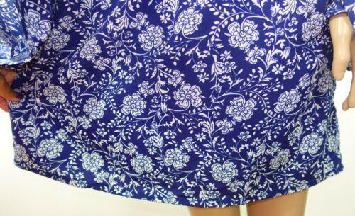 Mileage Femmes Plus Taille 2x 3x Bleu Marine Bleu Blanc Floral Tunique Chemisier Shirt