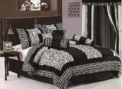 7 Piece Black and White Micro Fur Zebra Giraffe Comforter Bed in Bag Full Size