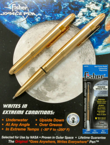 Fisher Space Pen Gold Bullet Pen with Clip #400GCL Plus An Extra Blue Refill