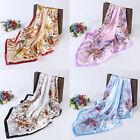 USA Women's Flower Printing Hijab Scarves Silk-Satin Square Head Scarf 35