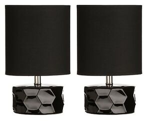 Set-Of-2-Black-Honeycomb-Table-Lamp-Fabric-Shade-With-Ceramic-Base-Home-Decor