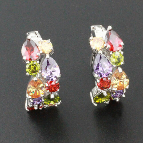 Women Earrings Stud Ring Morganite Amethyst Garnet Peridot Colored Stone Decor