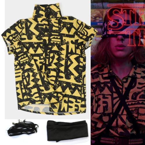 Stranger Things Season 3 Eleven Cosplay Gift Short Sleeve Printed Shirt Yellow