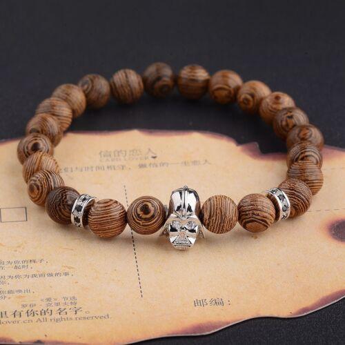 Fashion 8MM Multilayer Wooden Beaded Silver Owl Buddha Head Helmet Bracelets
