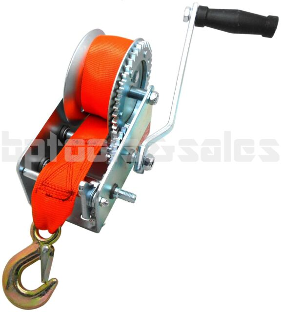 2000 lbs Hand Winch Heavy Duty Nylon Strap Crank Gear Winch Marine Boat Trailer