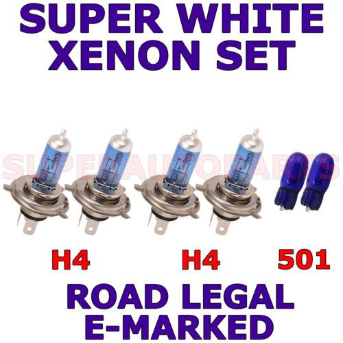 SET OF H4 H4 501 HALOGEN XENON SUPER WHITE LIGHT BULBS FITS NISSAN PIXO 2009