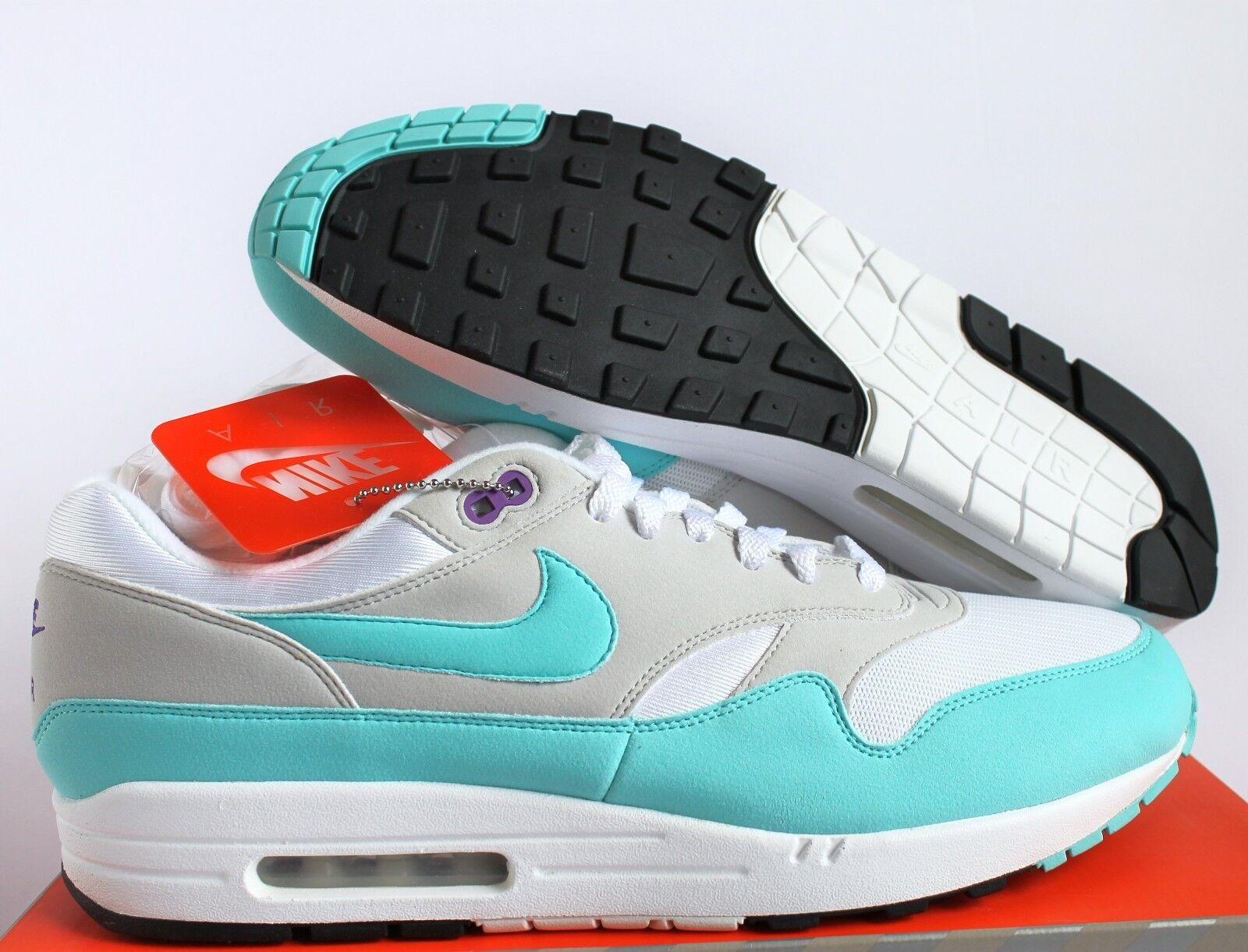 Nike air max 1 anniversario og qs white-aqua-neutral grey sz 14 [908375-105]