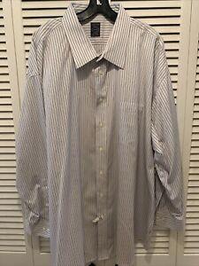 Joseph Feiss Dress Shirt Slim Fit Striped Non Iron Cotton Mens Sz 20-34/35