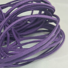 5 YARDS - 15 FEET Purple Faux Suede Cord Leather Lace Ribbon Soft #51
