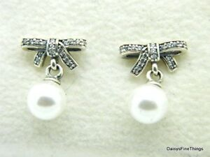 25a500af6 Image is loading NEW-PANDORA-EARRINGS-DELICATE-SENTIMENTS-PEARL-CZ-STUDS-