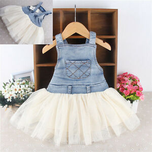 4bf58aaf759 USA Kids Baby Girls Clothes Summer Denim Tulle Dress Overalls ...
