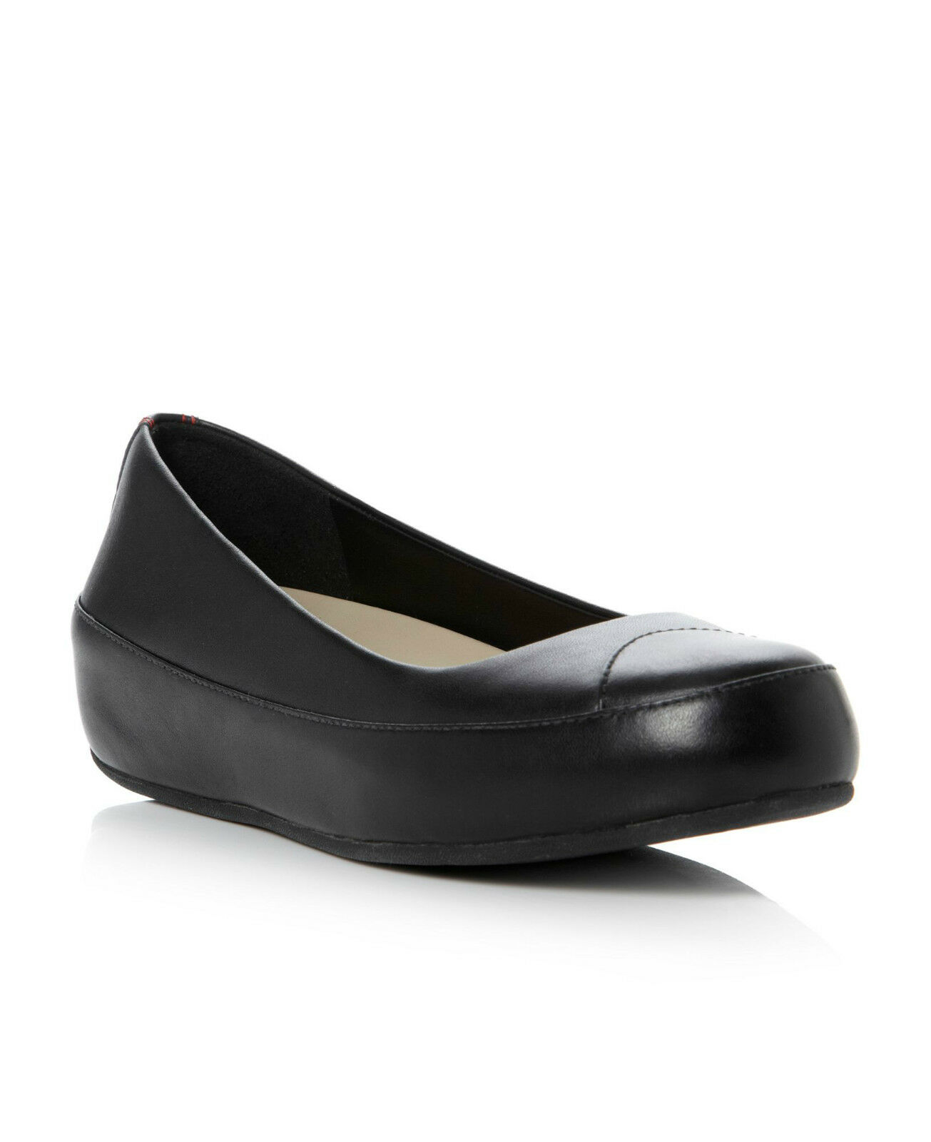 FITFLOP™ DUE BLACK LEATHER PLATFORM BALLERINA PUMPS Schuhe UK 5 EUR 38