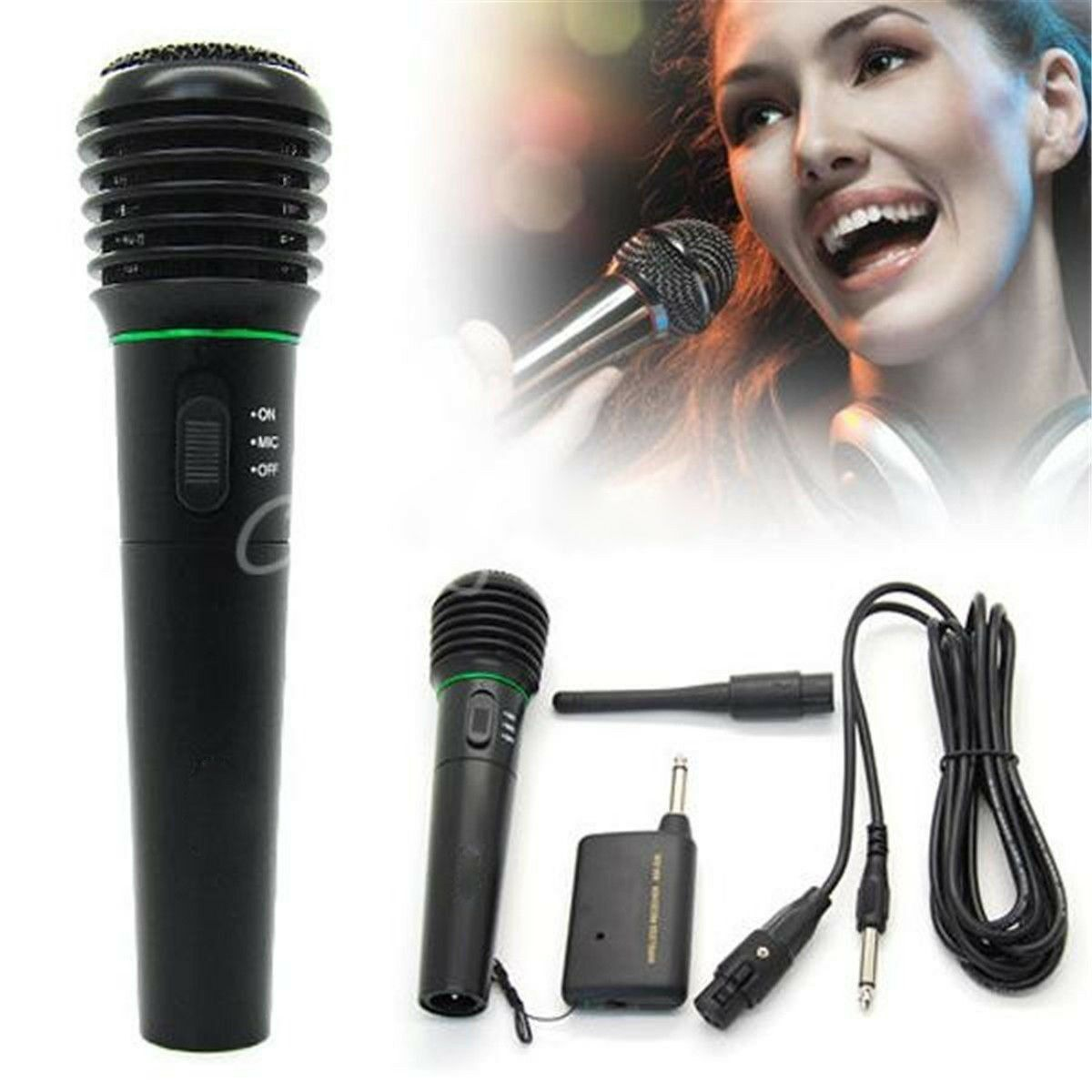 Microphone Wireless/Wired 2in1 Handheld Cordless Mic For Kar